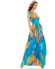 Milly ~ ~ ~ Sleeveless Abstract-Print Gown,TEAL & ORANGE . . . . . Neiman-Marcus