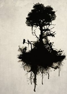 tree nature forest raven bird mist oil branches death Illustration