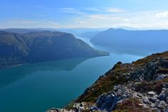 The outer part of the Lustrafjord seen from Mt. Molden in Hafslo. Luster in Sogn og Fjordane, Norway