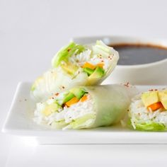 Rice paper spring rolls which are vegan and gluten free (in German)