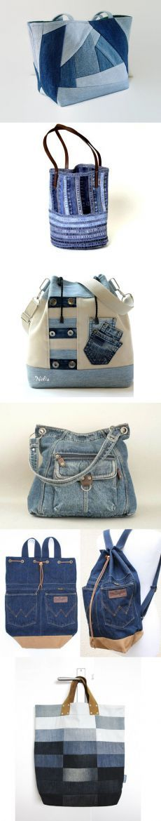 Prikolnye las bolsas jeans y las mochillas. Patchwork Bags, Quilted Bag, Denim Purse, Denim Ideas, Denim Crafts, Recycled Denim, Fabric Bags, Handmade Bags, Handmade Leather