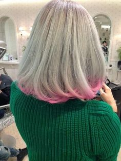 Silver pink hair