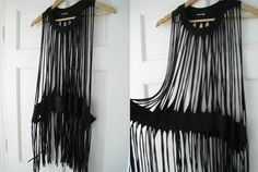 Diy fringe dress from t-shirt