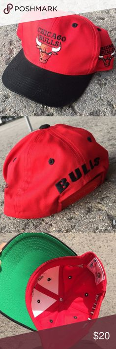 Vintage 90s Red Chicago Bulls YOUTH Snapback Hat Vintage 90s Red Chicago Bulls YOUTH Snapback Hat  Great pre-owned condition Black, red Stitched/embroidered design Adjustable snaps Green underbrim By G-Caps . . . cap, hat, basketball, NBA, fan, gear, fangear, vtg, 1990s G Caps Accessories Hats