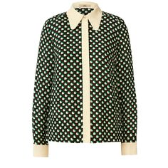 Orla Kiely: Long sleeve blouse in 'Sweetheart Print' crepe fabric with contrast solid collar, placket and cuffs. This blouse has a large collar and an invisible button placket at centre front. Full length classic shirt sleeve.     Length: 62.5cm (centre back)