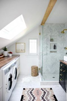 Laundry combined with master bathroom – Master Bathroom Reveal! (One Room Challenge: Spring Week – House Updated – Laundry Room Laundry Bathroom Combo, Laundry Room Organization, Laundry Room Design, Downstairs Bathroom, Bathroom Layout, Small Bathroom, Bathroom Ideas, Bathroom Renovations, Laundry Closet