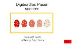 Digibordles - Seriëren van eieren op kleur. juf Marije en juf Sanne. About Easter, Spring Crafts, School, Teacher, Easter Activities, Professor