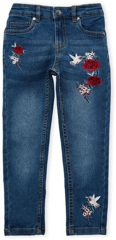 5 up to 16 years M/&S Girls Skinny Jeans with Diamantes and Adjustable Waist