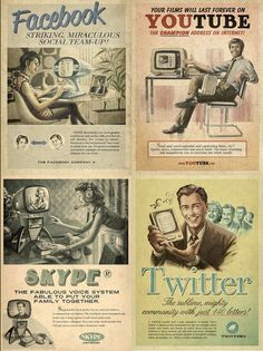 """Moma Propaganda from Sao Paulo, SP created this series of retro future ads as part of their """"Everything Ages Fast"""" ad campaign for Maximidia Seminars. (Facebook, Youtube, Skype, & Twitter)"""