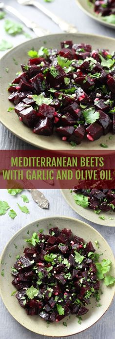 Mediterranean Beets with Garlic and Olive Oil Recipe - really easy to make, full of flavor and very healthy. Serve as a salad or side dish. Maybe roast the beets with the garlic. Vegetarian Recipes, Cooking Recipes, Healthy Recipes, Healthy Tips, Cooking Tips, Side Dish Recipes, Vegetable Recipes, Vegetable Salads, Veggie Food