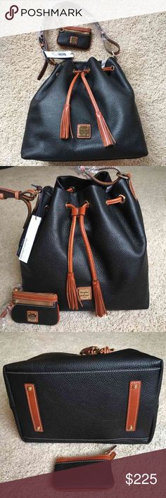 """Dooney & Bourke Leather Drawstring Purse Brand new, beautiful black leather drawstring purse from Dooney & Bourke. Contrasting brown leather detail. The purse is a drawstring closure, with 1 zip pocket and 2 open pockets on the interior. Comes in/with original packaging, tags, registration card & dust bag. Purse measures approximately 12""""x12""""x8"""". Strap drop is adjustable, but on the current middle buckle is about 12"""". Does not come with coin purse listed on the tag. Dooney & Bourke Bags…"""