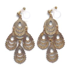 Gold chandelier filigree invisible clip on earrings.  Lightweight and comfortable boho style clip on even in large size! ❤️