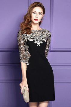 Only $67.99, Cocktail Dresses Chic Black Embroidered Wedding Guest Dress With Half Sleeves Side Slit #ZL8015 at #GemGrace. View more special Cocktail Dresses,Wedding Guest Dresses now? GemGrace is a solution for those who want to buy delicate gowns with affordable prices, a solution for those who have unique ideas about their gowns. Shop now!