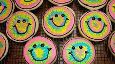 Fun Tie Dye Smiley Face Cookies.