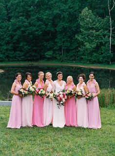 Bridesmaids. shades of pink by http://barijay.com/  Photography by adambarnesphoto.com