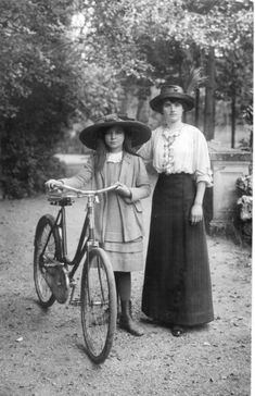 Edwardian Mother Daughter with Bicycle Beautiful 1910 RP | eBay