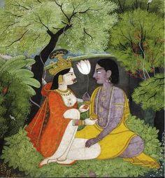 hinducosmos: Radha Krishna late century, Kangra style (via. Krishna Painting, Krishna Art, Radhe Krishna, Mughal Paintings, Indian Paintings, Indian Folk Art, Indian Artist, Sanskrit, Tantra
