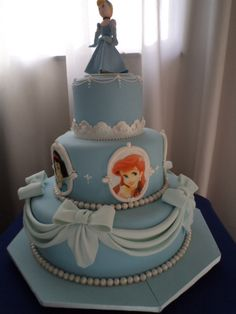 Three Tier Cinderella Princess Cake Ariel. Instead of the princess faces you could but letters or you and torrey :) lol