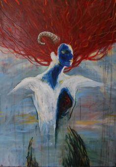 "Saatchi Art Artist TRIANTAFYLIA VASSOU; Painting, ""My heart a Pomegranate"" #art"