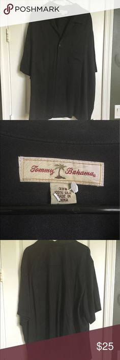 Tommy Bahamas's short sleeve collared shirt Tommy Bahamas's short sleeve black shirt with collar. 100% silk Tommy Bahama Shirts Casual Button Down Shirts