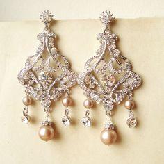 Gold rhinestone pearl chandelier earrings vintage bridal earrings champagne pearl chandelier bridal earrings vintage style statement wedding earrings champagne pearls chandelier earrings alessandra 8800 via etsy aloadofball Images