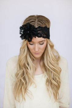 Mrs. I Do Wedding Lace Headband Floral Head Piece Black Wide Stretchy Hair Bands with Lace Flower and Pearl Button Stretchy Hair Accessories...