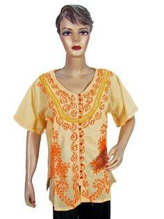 Hippy Boho Cotton Blouse Yellow Floral Embroidered Tops Women Shirt Large Size Mogul Interior, http://www.amazon.com/dp/B009LEIUKI/ref=cm_sw_r_pi_dp_3dvBqb17XYWHC$14.99