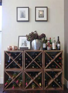 8 Creative Ideas for Making your Own DIY Wine Rack | Decor Snob Wine Rack Storage, Wine Rack Wall, Towel Storage, Storage Shelves, Shelving, Wine Rack Inspiration, Wine Rack Design, Wine Rack Plans, Interior Design Minimalist