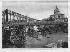 Foto storiche di Roma - Veduta dei lavori di costruzione al Ponte dei Fiorentini
