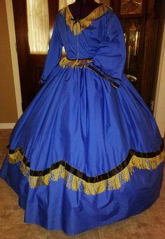 Civil War reenactment dress, blue and gold.