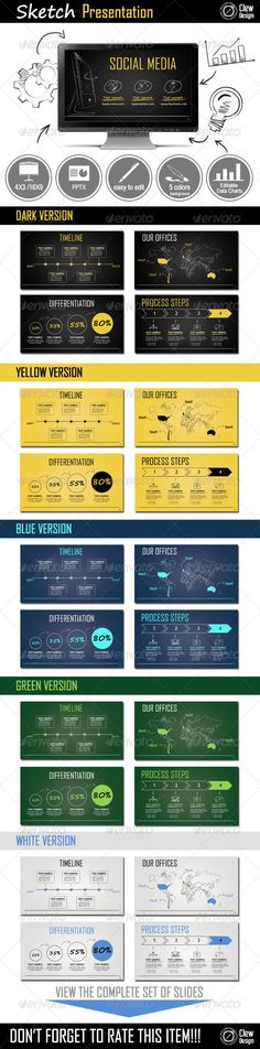 Sketch Powerpoint Presentation #GraphicRiver With this template, it is possible to create elegant and professional presentations that offer a unique tone to your ideas. With five different color options, it provides variety and adapts to any purpose or area: corporative, creative, among many other industries. The elements created have a didactic purpose that not only embellish your presentation they also makes it informative and easy to understand. Features: Widescreen 16:9 and Standard 4:3…