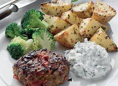 Lækker græsk bøf og citronkartofler. Broccoli, Potato Salad, Healthy Recipes, Healthy Food, Restaurant, Vegetables, Ethnic Recipes, Desserts, Sweet Dreams
