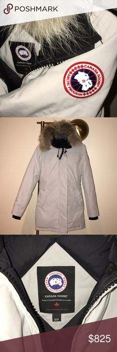 Women's Canada Goose Parka Like new Victoria parka. Worn for 3 days while in Whistler. Color is an arctic gray. Slim fitting- duck down- coyote fur trim.  ❗️will trade for Savona Bomber Jacket or Chiliwack in Xsmall. Same value ❗️ Canada Goose Jackets & Coats