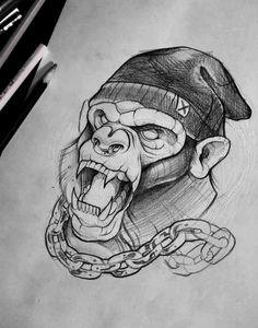 Eye catching tattoo sketches design ideas 8 - Pin This Graffiti Art, Wie Zeichnet Man Graffiti, Graffiti Drawing, Cool Art Drawings, Art Drawings Sketches, Tattoo Sketches, Tattoo Drawings, Gorilla Tattoo, Sketch Tattoo Design