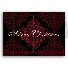 Elegant gothic Christmas ornamental design Greeting Card