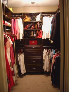 Small Walk In Closet Design - I like the purse cubbie idea, but not at the end of the closet.