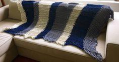 100% organic cotton hand knit handmade chunky bulky oversized ribbed tea dyed blue marine indigo and cream white natural afghan throw blanke