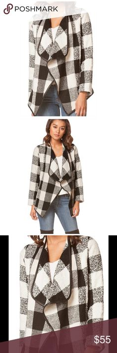 Black and White Warm Open Jacket. Beautiful, new item without tags. Very warm and trendy. Vegan Leather Trim. Spice up your outfits this winter!❤️❤️❤️ Jackets & Coats