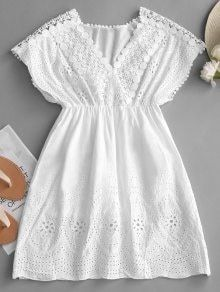 Crochet Panel High Waist Mini Dress - White