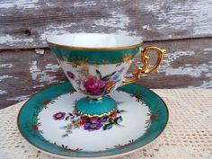 Hand Painted Pedestal Teacup  Set Green Floral Lefton