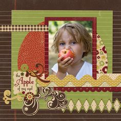 """""""The Apple Of My Eye"""" using New Scribble Scrabble - Scrapbook.com - like the 2 tone circle in the background ~NS"""
