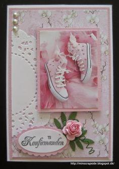 Min scrapside Confirmation Cards, Homemade Greeting Cards, Dress Card, Female Girl, Kids Cards, Scrapbook, Handmade, Inspiration, Design