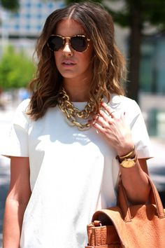 absolutely love how @Courtney Kerr wore our Gold Pave Link Necklace and our Gold…