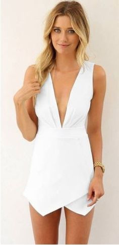 White Plunging V Neck Sleeveless Open Sexy Mini Skort Style Origami Wrap Romper Style Dress