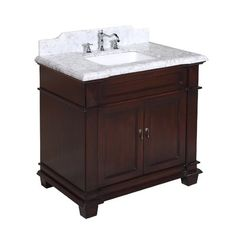 Cheap Kitchen Bath Collection Elizabeth Bathroom Vanity with Marble Countertop, Cabinet with Soft Close Function and Undermount Ceramic Sink, Carrara/Chocolate, 36 Inch Bathroom Vanity, 36 Inch Vanity, Vanity Cabinet, Vanity Set, Carrara Marble Countertop, Marble Wood, Kitchen Bath Collection, Ceramic Sink, Traditional Bathroom
