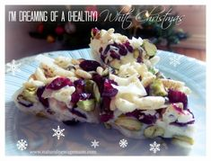 White Christmas treats - could be made without the white chocolate and with raw 'clean' chocolate. Pureed Food Recipes, Healthy Eating Recipes, Healthy Treats, Healthy Desserts, Whole Food Recipes, Paleo Food, Cookie Recipes, Yummy Food, Christmas Food Gifts