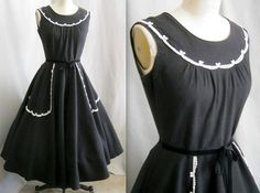 Vintage 50s BLACK Cotton Pique DRESS or JUMPER by Cuckoochenille