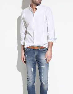 PRINTED SHIRT WITH MAO COLLAR - Fashion - Shirts - Man - ZARA