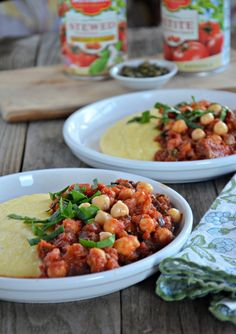 This vegetarian Chickpea Puttanesca over Creamy Polenta is so easy to make and total comfort food! #vegetarian  mountainmamacooks.com