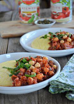 Chickpea Puttanesca over Creamy Polenta #giveaway #gluten-free #vegetarian